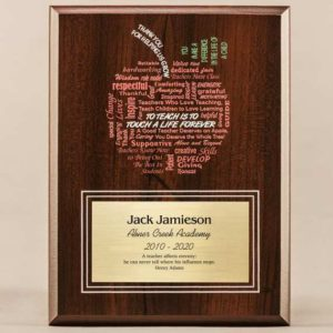 Amazing Educator Series Plaque with Apple Word Cloud for teacher appreciation day