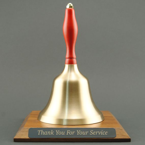 Teacher Appreciation Hand Bell with Red Handle and Base - Engraved Plate