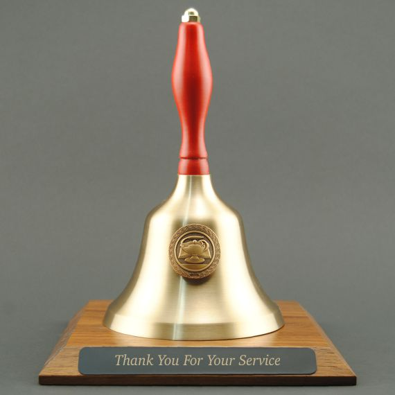Teacher Appreciation Hand Bell with Red Handle, Base & Medallion - Plate Personalization