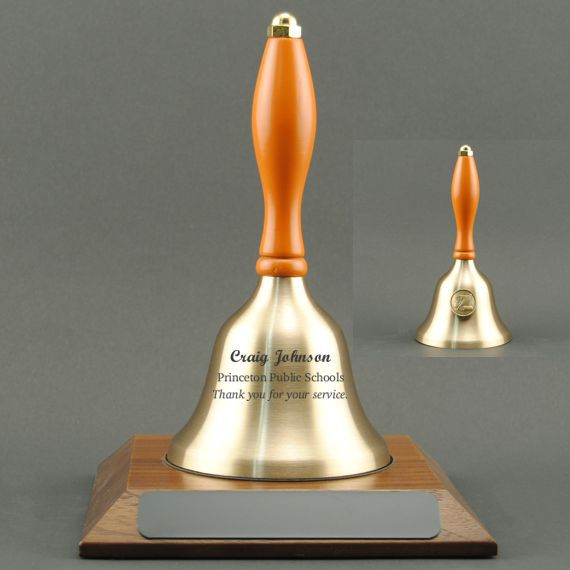 Teacher Recognition Hand Bell with Orange Handle, Base & Medallion - Bell Personalization