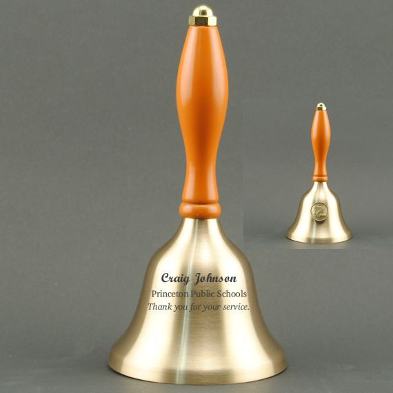 Teacher Recognition Hand Bell with Orange Handle & Medallion - Bell Personalization