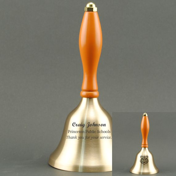 Golden Teacher Recognition Hand Bell with Orange Handle - 2 Sided Personalization