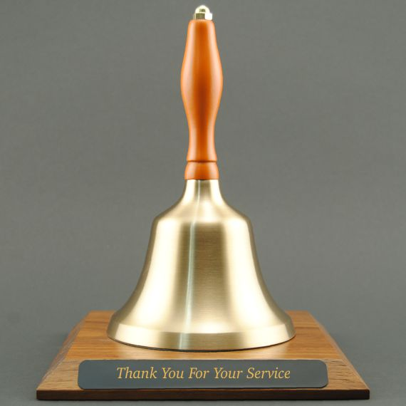 Teacher Appreciation Hand Bell with Orange Handle and Base - Engraved Plate