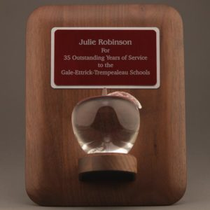 Crystal Apple Plaque for Teacher Recognition