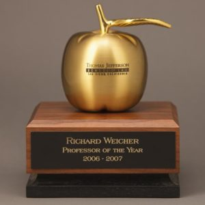 Large Golden Apple Trophy with personalized gold apple and engraved plate