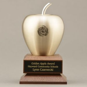 Etched Smooth Gold Apple Trophy with Plate Engraving