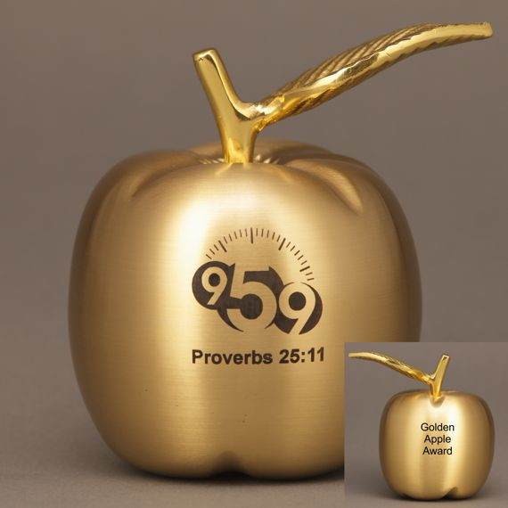 2 Sided Personalized Brass Apple