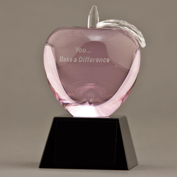 Etched Pink Crystal Apple on Base - Healthcare Breast Cancer