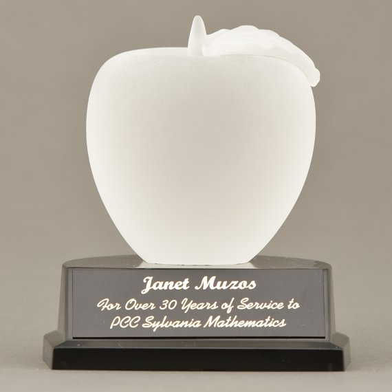 Frosted Glass Apple Paperweight Trophy for Teacher Appreciation