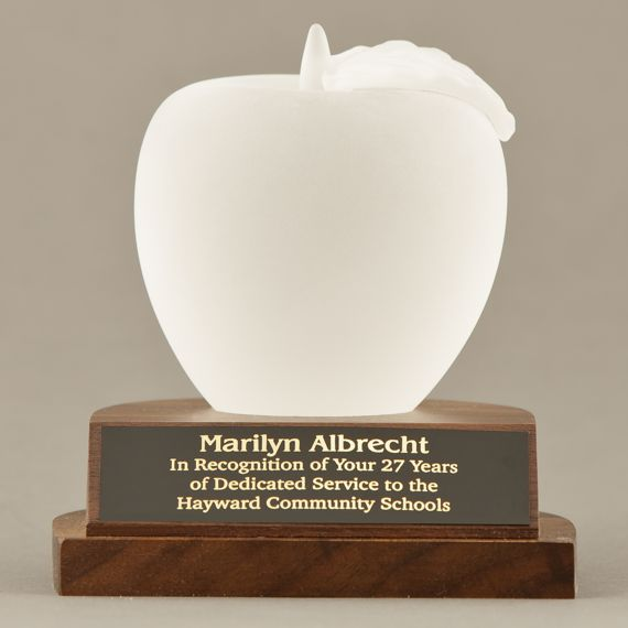 Frosted Glass Apple Paperweight Trophy for Educator Appreciation