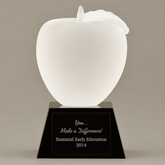 Frosted Crystal Apple on Black Base - Teacher's Desk to Give Thanks
