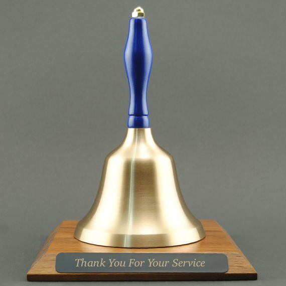 Teacher Appreciation Hand Bell with Blue Handle and Base - Engraved Plate