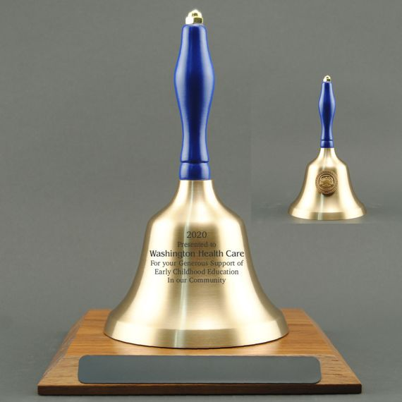 Teacher Appreciation Hand Bell with Blue Handle, Base & Medallion - Bell Personalization