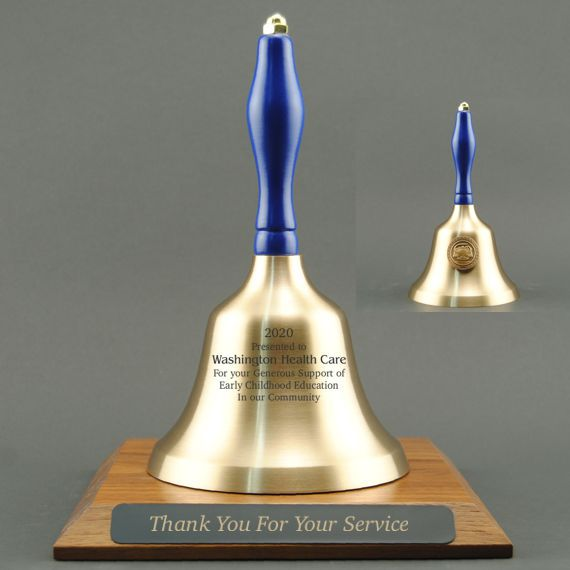 Teacher Appreciation Hand Bell with Blue Handle, Base & Medallion - Bell & Plate Personalization