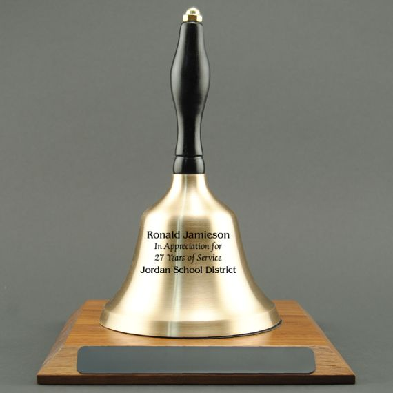 Employee Appreciation Hand Bell with Black Handle and Base - Engraved Bell