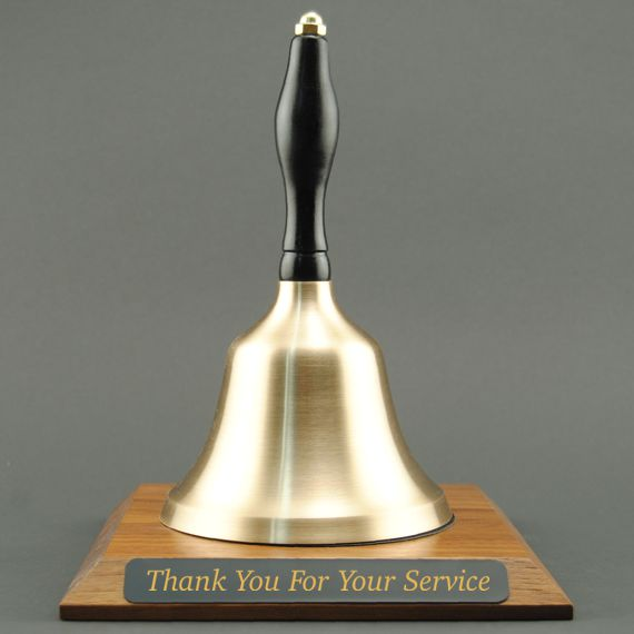 Employee Appreciation Hand Bell with Black Handle and Base - Engraved Plate