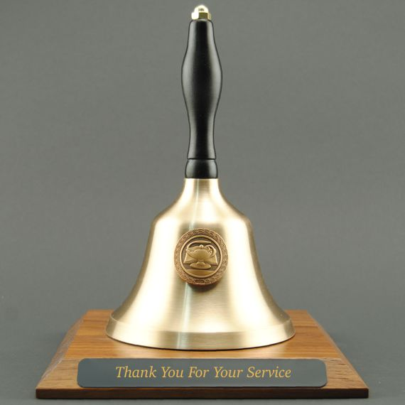 Employee Recognition Hand Bell with Black Handle, Base & Medallion - Plate Personalization