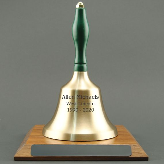 Teacher Appreciation Hand Bell with Green Handle and Base - Engraved Bell
