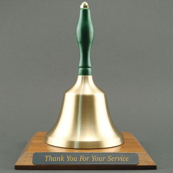 Teacher Appreciation Hand Bell with Green Handle and Base - Engraved Plate