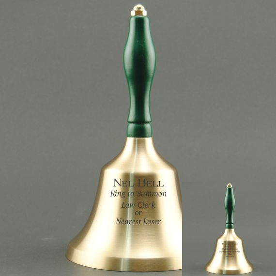 Teacher Appreciation Day Hand Bell with Green Handle - 2 Sided Personalization