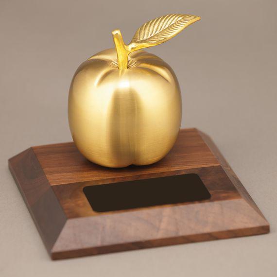 Golden Brass Apple Desk-Award Non-Personalized