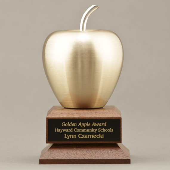 Golden Apple Gifts for Teachers of the Year Engraved