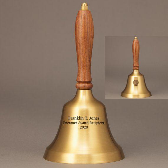 Teacher Retirement Hand Bell with Walnut Handle & Medallion - Bell Personalization
