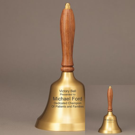 Golden Teacher Retirement Hand Bell with Walnut Handle - 2 Sided Personalization