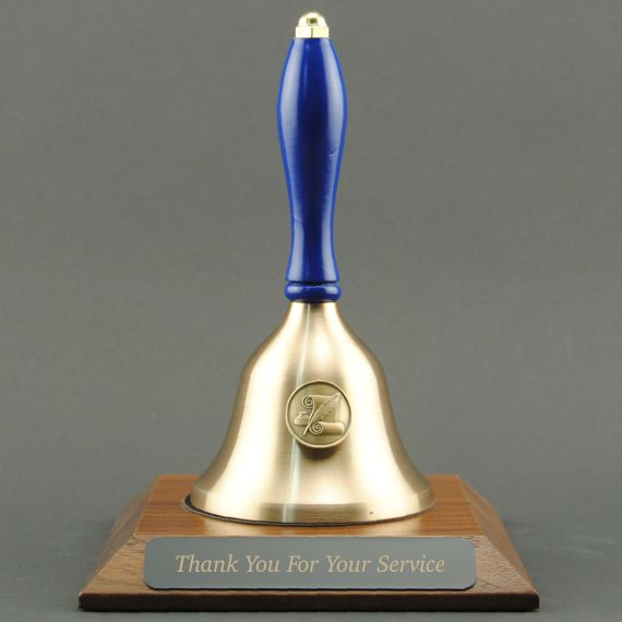 Teacher Recognition Hand Bell with Blue Handle, Base & Medallion - Plate Personalization
