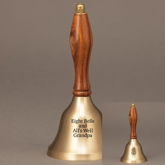 Golden Teacher Thank You Hand Bell with Walnut Handle - 2 Sided Personalization