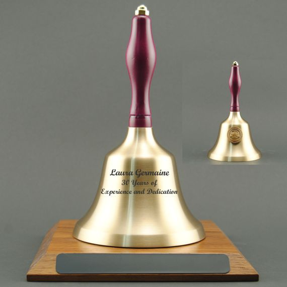 Teacher Retirement Hand Bell with Purple Handle, Base & Medallion - Bell Personalization