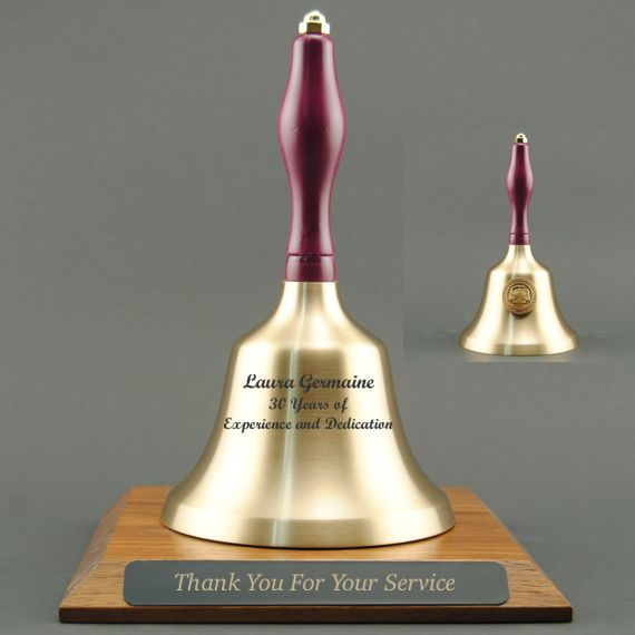 Teacher Recognition Hand Bell with Purple Handle, Base & Medallion - Bell & Plate Personalization