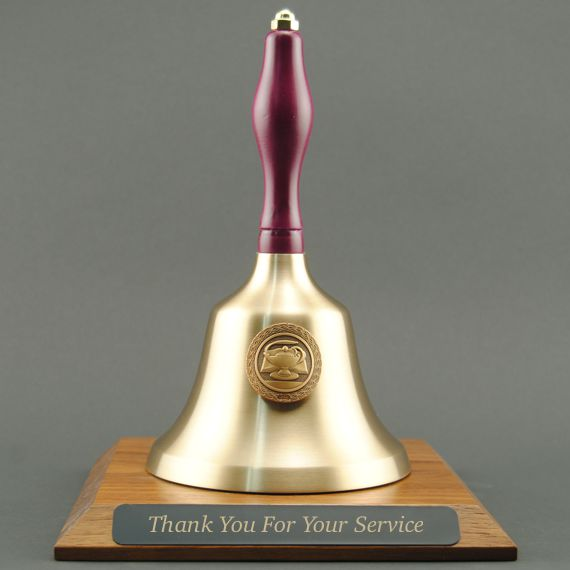 Teacher Retirement Hand Bell with Purple Handle, Base & Medallion - Plate Personalization