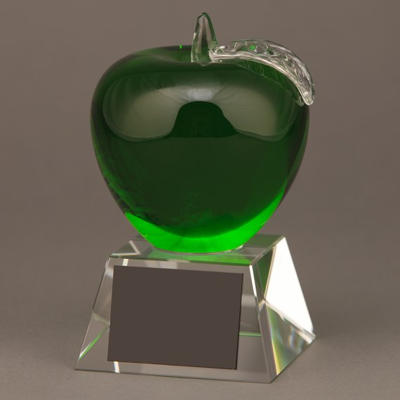 Green Glass Apple Trophy without Plate Engraving is an Excellent Professor Recognition Idea