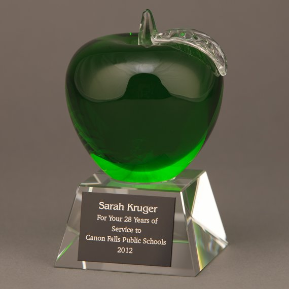 Green Glass Apple Trophy with Plate Engraving is an Excellent Professor Recognition Idea