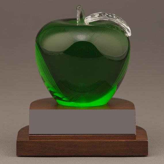 Green Crystal Apple on Base as a Teacher Desk Award