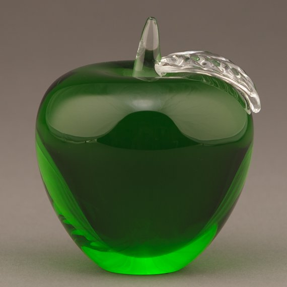 Green Glass Apple Paperweight for Educator Appreciation Gift