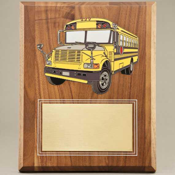 UV Printed School Bus Driver Appreciation Plaque - No Personalization Included