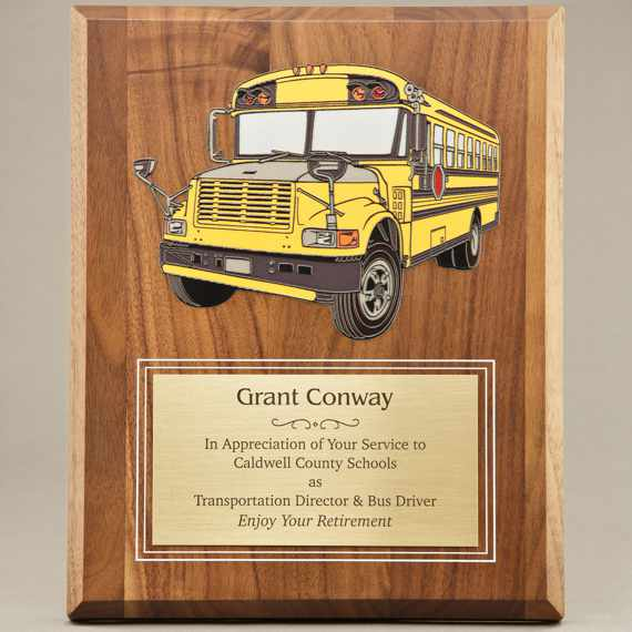 UV Printed School Bus Driver Recognition Plaque - Personalization Included