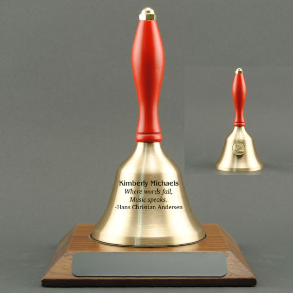 Teacher Gratitude Hand Bell with Red Handle, Base & Medallion - Bell Personalization