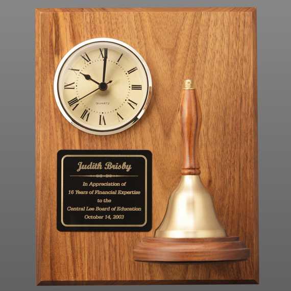 Teacher Appreciation Week Handbell Clock Plaque with Plate Engraving