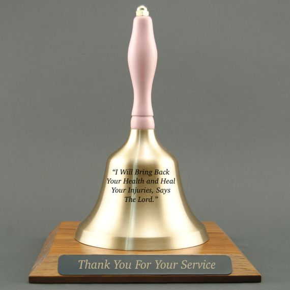 Paraprofessional Retirement Hand Bell with Pink Handle and Base - All Engraving Included