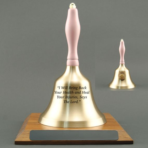 Teacher Retirement Hand Bell with Pink Handle, Base & Medallion - Bell Personalization