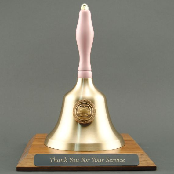 Teacher Retirement Hand Bell with Pink Handle, Base & Medallion - Plate Personalization
