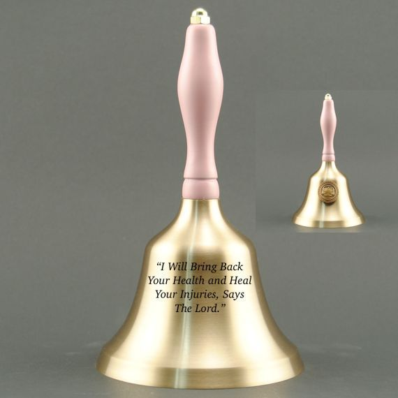Teacher Retirement Hand Bell with Pink Handle & Medallion - Bell Personalization