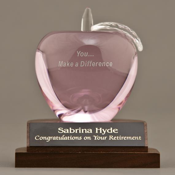 Pink Crystal Apple Desk Award for a Doctor Gift Idea - Cancer Tribute