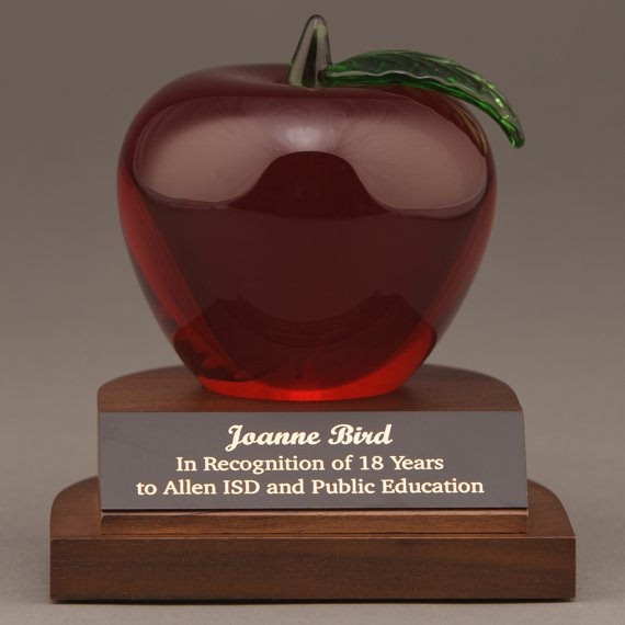 Red Crystal Apple Desk Award Engraved for a Employee Recognition Gift
