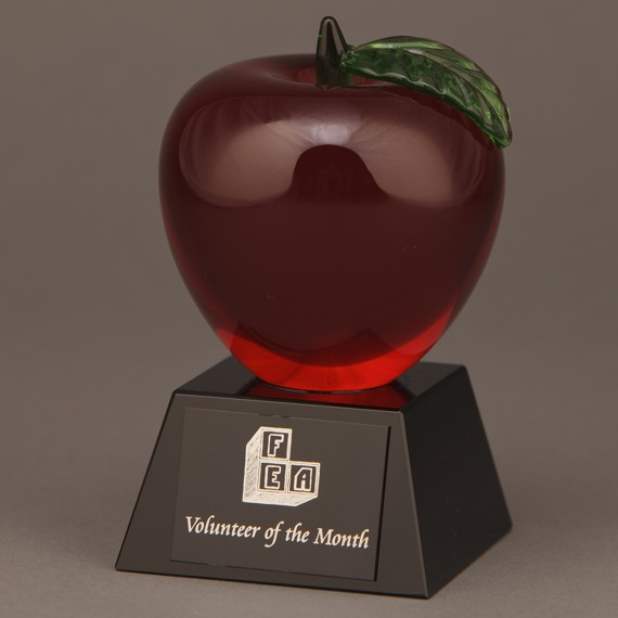 Red Crystal Apple Trophy for a Teacher Recognition Idea