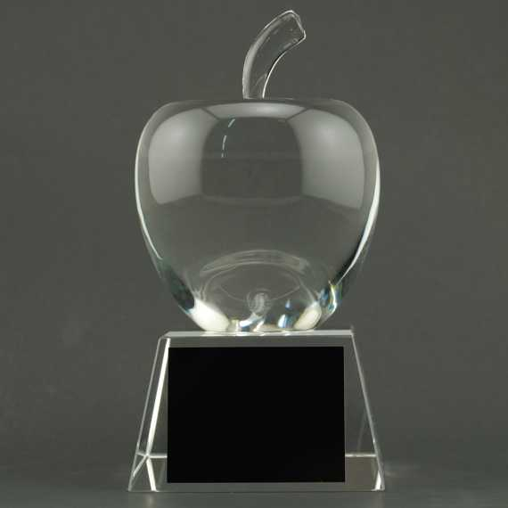 Large Crystal Apple on Crystal Base - No Personalization