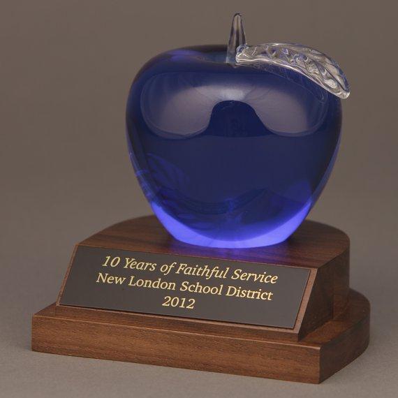 etched-blue-crystal-apple-desk-engraved